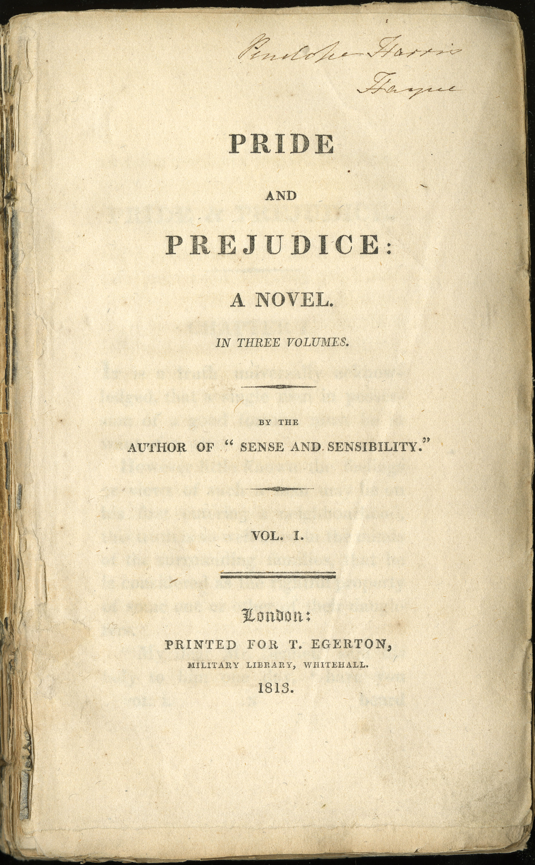 """Frontespizio della I edizione di """"Pride and Prejudice"""" Fonte: Wikipedia"""